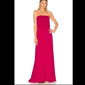 Halston Heritage Strapless Tiered Gown in Cerise